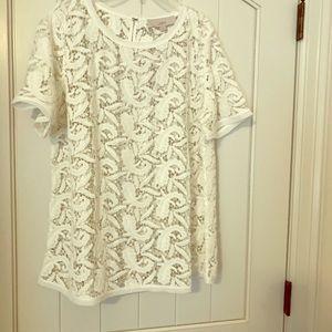 Loft white lace top NWT size XL